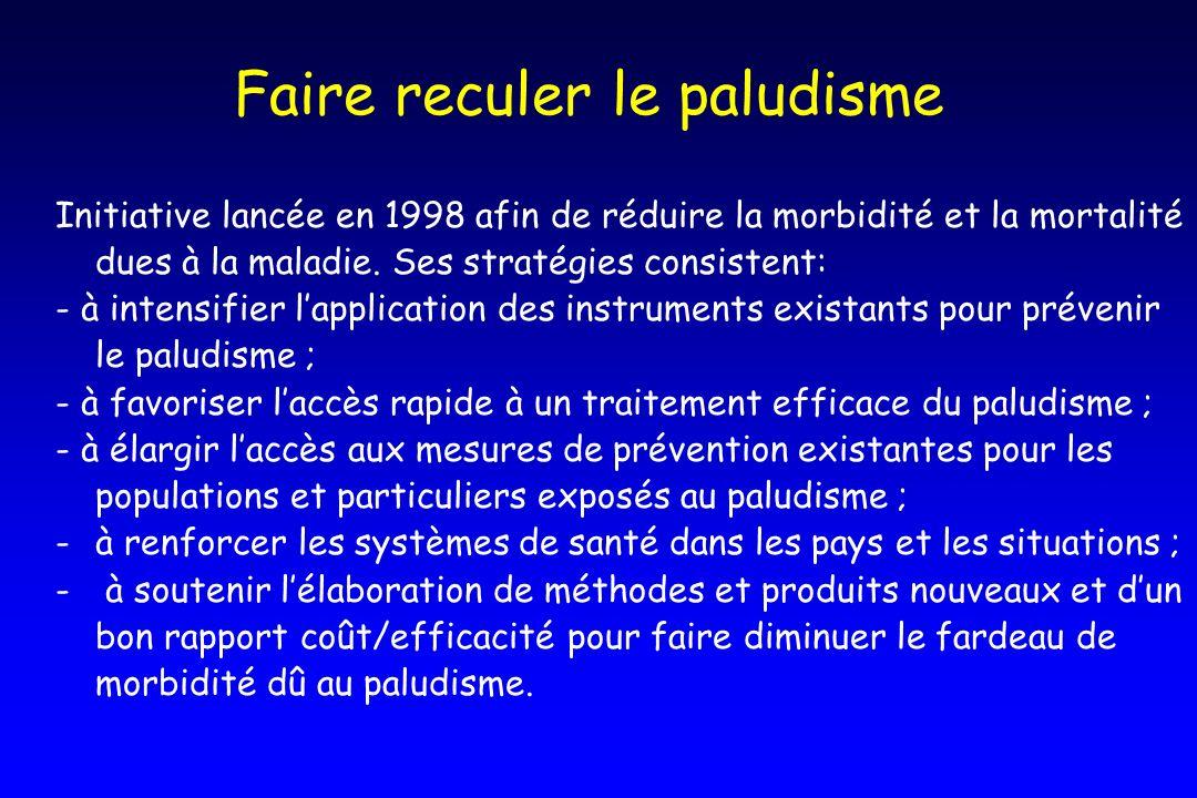 Faire reculer le paludisme Initiative lancée en 1998 afin de réduire la morbidité et la mortalité dues à la maladie. Ses stratégies consistent: - à in