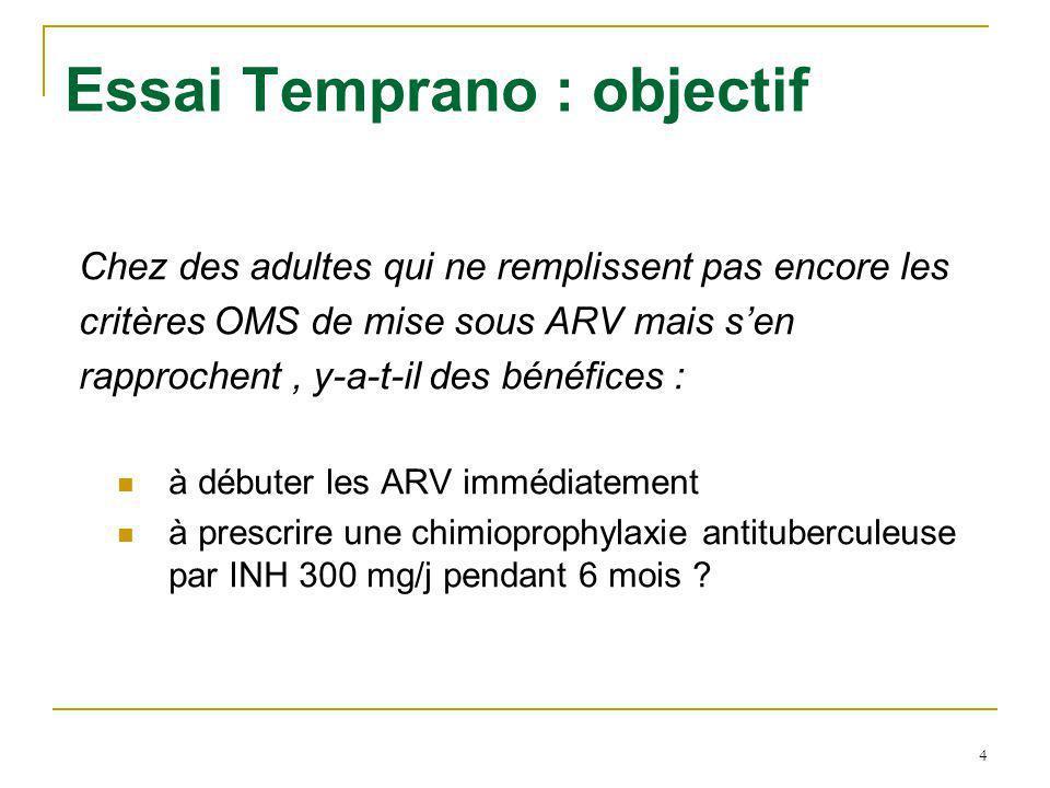 4 Essai Temprano : objectif Chez des adultes qui ne remplissent pas encore les critères OMS de mise sous ARV mais sen rapprochent, y-a-t-il des bénéfices : à débuter les ARV immédiatement à prescrire une chimioprophylaxie antituberculeuse par INH 300 mg/j pendant 6 mois ?