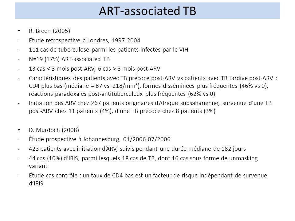 R. Breen (2005) -Étude retrospective à Londres, 1997-2004 -111 cas de tuberculose parmi les patients infectés par le VIH -N=19 (17%) ART-associated TB
