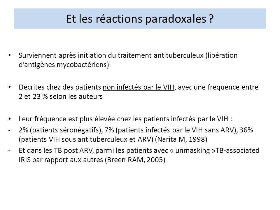 Et les réactions paradoxales ? Surviennent après initiation du traitement antituberculeux (libération dantigènes mycobactériens) Décrites chez des pat