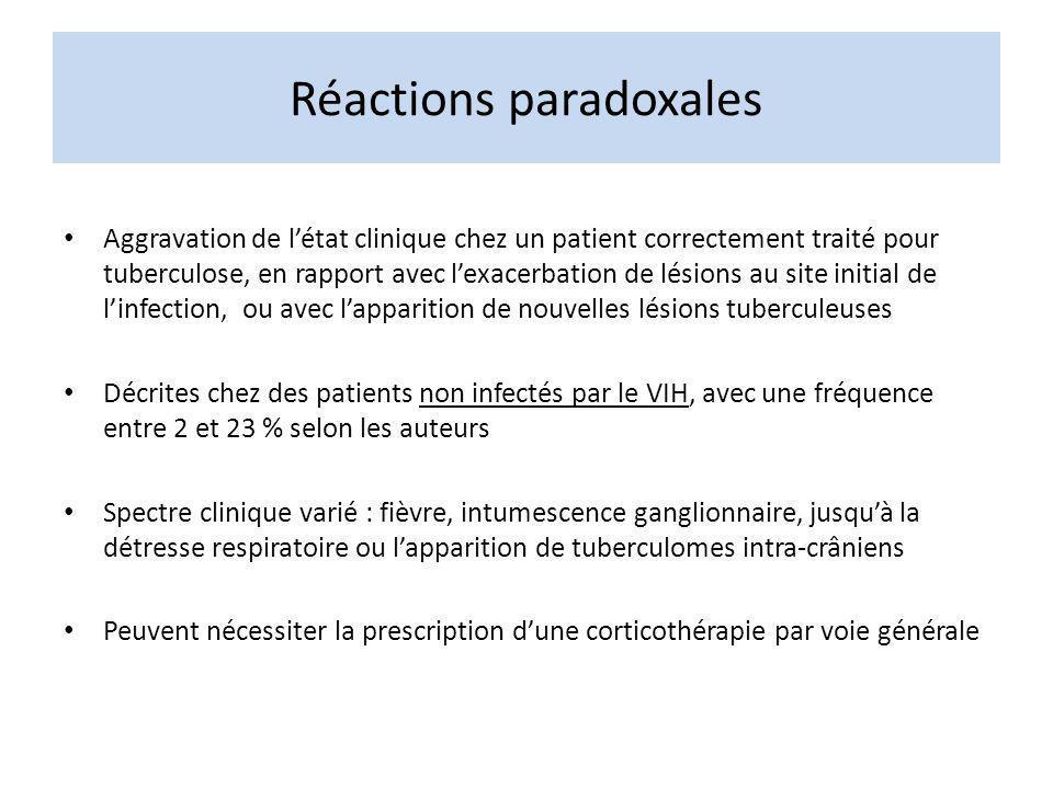 Tuberculose dans les suites des ARV « ART-associated TB » Incidence élevée de la tuberculose dans les 3 mois suivant linitiation des ARV Passage dune forme infra-clinique avant ARV à une forme symptomatique après ARV : -NB = mauvaise sensibilité de lexamen microscopique des crachats chez le patient immunodéprimé -Soit persistance dun degré dimmunodépression permettant la progression de la tuberculose -Soit présentation clinique inflammatoire résultant de la restauration des réponses antiBK sous ARV : « unmasking variant » of IRIS Lintensité de la réponse inflammatoire et des symptômes résulte dune interaction entre linoculum BK et la qualité de la réponse immune daprès S.