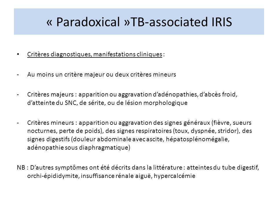 « Paradoxical »TB-associated IRIS Critères diagnostiques, manifestations cliniques : -Au moins un critère majeur ou deux critères mineurs -Critères ma