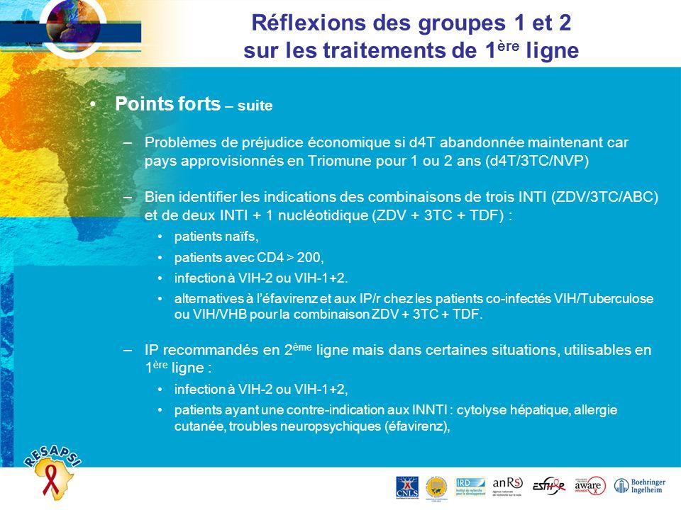 Points forts – suite –Problèmes de préjudice économique si d4T abandonnée maintenant car pays approvisionnés en Triomune pour 1 ou 2 ans (d4T/3TC/NVP)