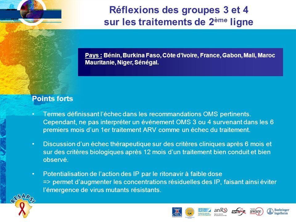 Pays : Bénin, Burkina Faso, Côte dIvoire, France, Gabon, Mali, Maroc Mauritanie, Niger, Sénégal. Réflexions des groupes 3 et 4 sur les traitements de