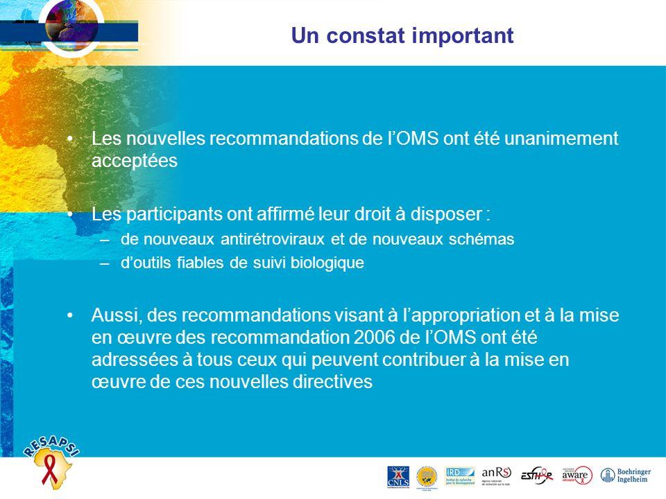 Un constat important Les nouvelles recommandations de lOMS ont été unanimement acceptées Les participants ont affirmé leur droit à disposer : –de nouv