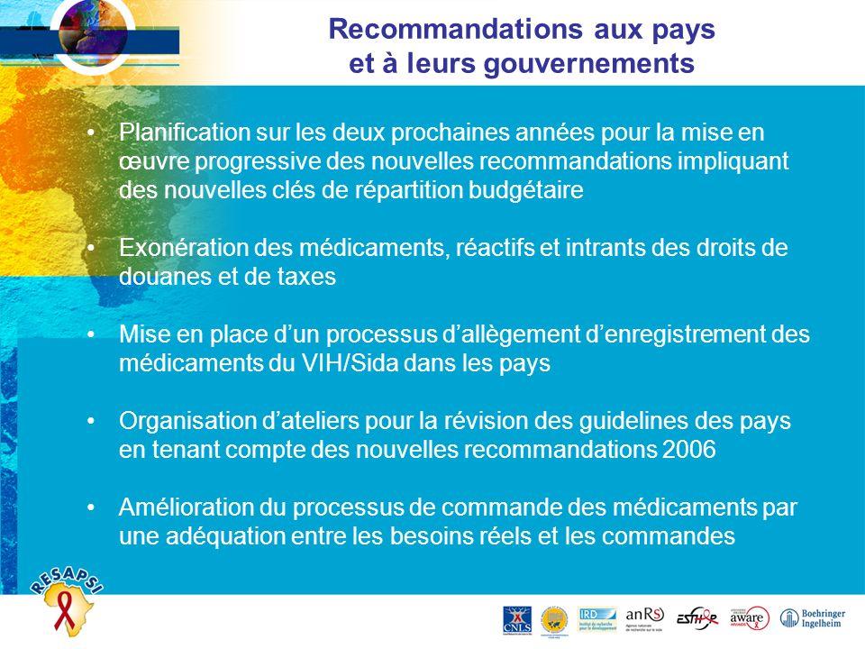 Recommandations aux pays et à leurs gouvernements Planification sur les deux prochaines années pour la mise en œuvre progressive des nouvelles recomma