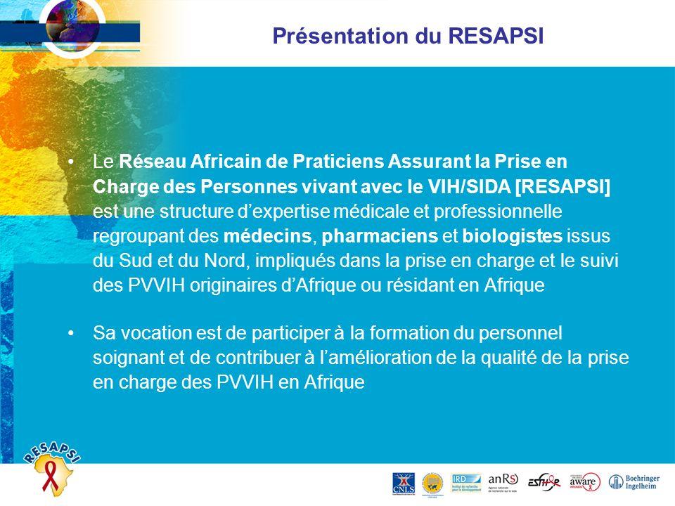 Présentation du RESAPSI Le Réseau Africain de Praticiens Assurant la Prise en Charge des Personnes vivant avec le VIH/SIDA [RESAPSI] est une structure