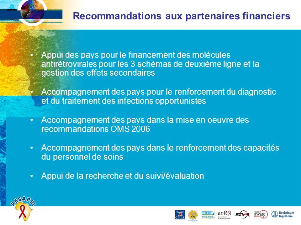 Recommandations aux partenaires financiers Appui des pays pour le financement des molécules antirétrovirales pour les 3 schémas de deuxième ligne et l