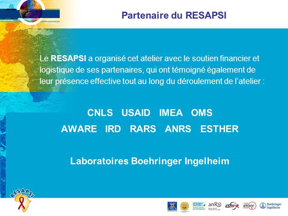 Partenaire du RESAPSI Le RESAPSI a organisé cet atelier avec le soutien financier et logistique de ses partenaires, qui ont témoigné également de leur