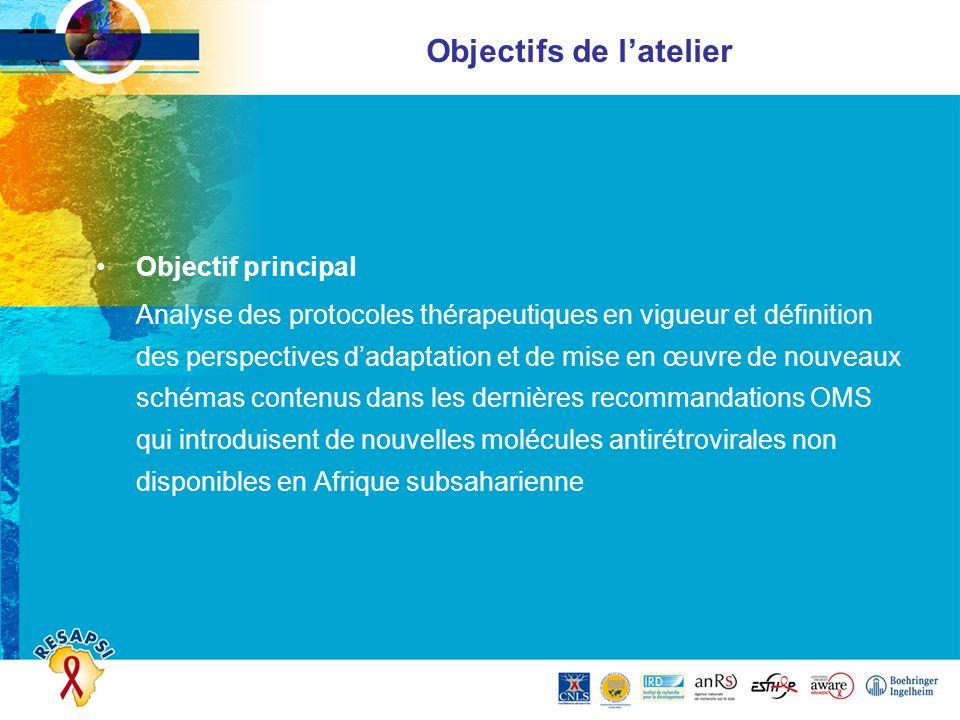 Objectifs de latelier Objectif principal Analyse des protocoles thérapeutiques en vigueur et définition des perspectives dadaptation et de mise en œuv