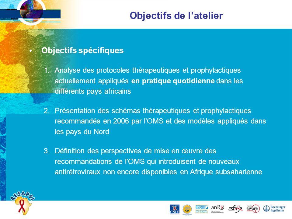 Objectifs de latelier Objectifs spécifiques 1.Analyse des protocoles thérapeutiques et prophylactiques actuellement appliqués en pratique quotidienne