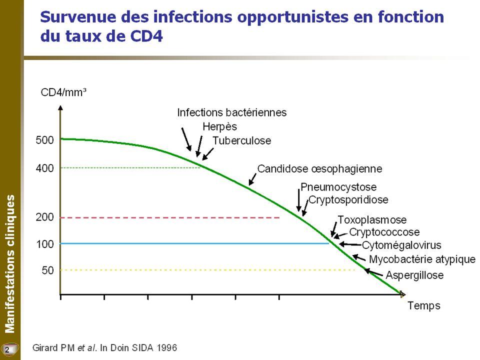 Incidence de TB après la séroconversion, adultes sud- africains, 1991-1997 Incidence Pour 100 patient-années RR HIV-négatifs 0.801 HIV-positifs Temps depuis séroconversion < 1 an 1.622.02 1-2 ans 2.002.50 2-3 ans 3.614.50 Sonnenberg, JID 2005 Le risque de tuberculose augmente très vite après la primo-infection VIH
