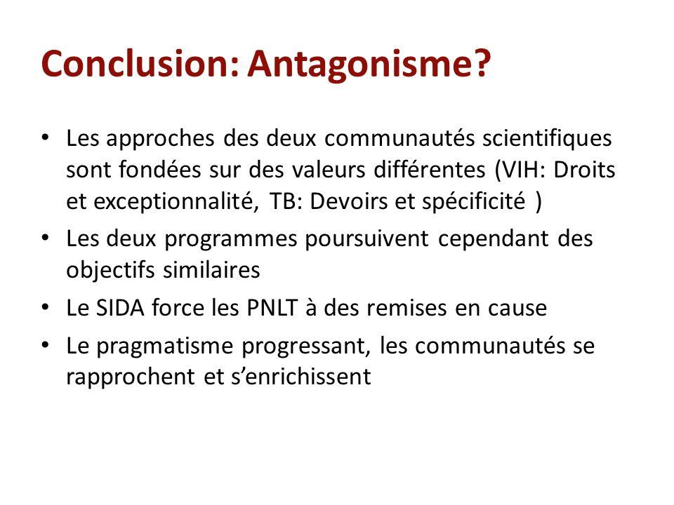 Conclusion: Antagonisme? Les approches des deux communautés scientifiques sont fondées sur des valeurs différentes (VIH: Droits et exceptionnalité, TB