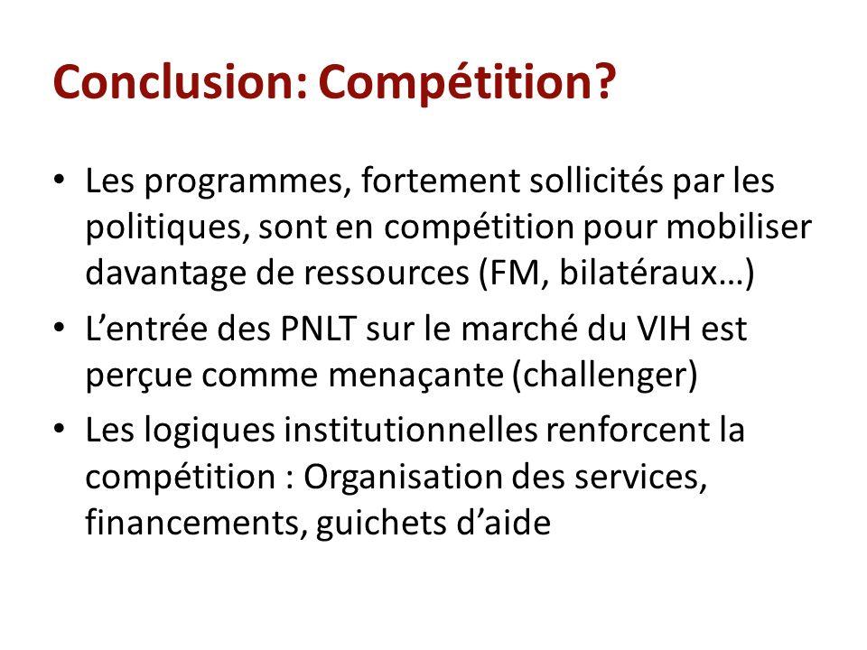 Conclusion: Compétition? Les programmes, fortement sollicités par les politiques, sont en compétition pour mobiliser davantage de ressources (FM, bila