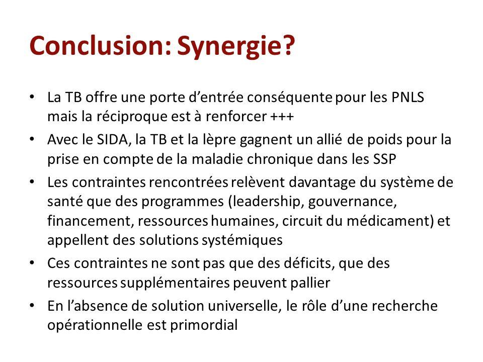 Conclusion: Synergie? La TB offre une porte dentrée conséquente pour les PNLS mais la réciproque est à renforcer +++ Avec le SIDA, la TB et la lèpre g