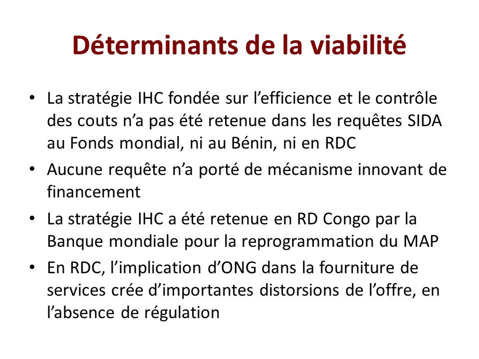 Déterminants de la viabilité La stratégie IHC fondée sur lefficience et le contrôle des couts na pas été retenue dans les requêtes SIDA au Fonds mondi