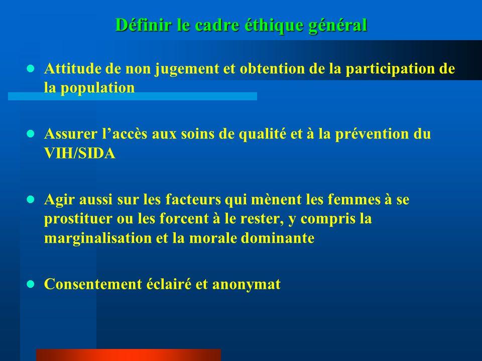 Définir le cadre éthique général Attitude de non jugement et obtention de la participation de la population Assurer laccès aux soins de qualité et à l