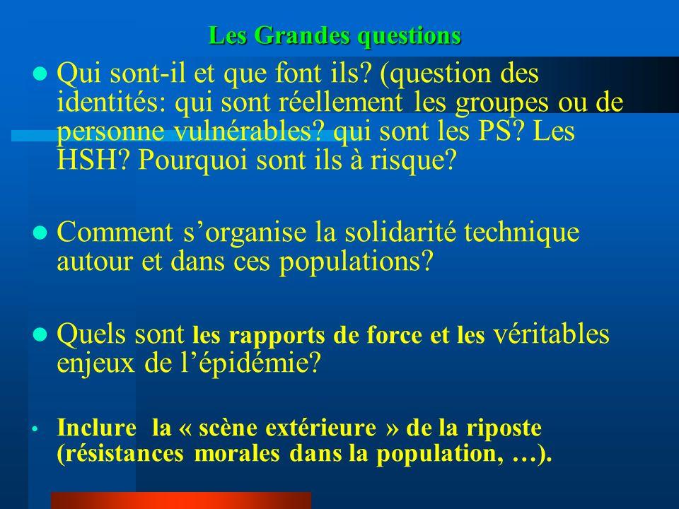 Les Grandes questions Qui sont-il et que font ils? (question des identités: qui sont réellement les groupes ou de personne vulnérables? qui sont les P