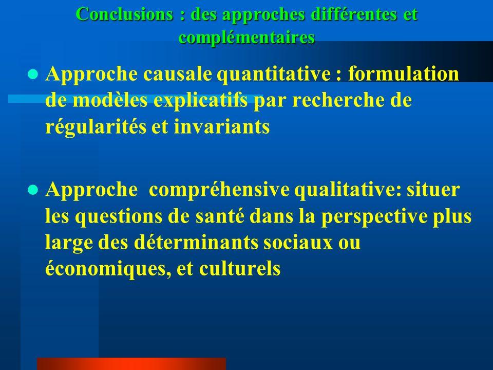 Conclusions : des approches différentes et complémentaires Approche causale quantitative : formulation de modèles explicatifs par recherche de régular