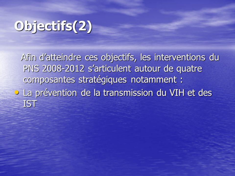 Objectifs(2) Afin datteindre ces objectifs, les interventions du PNS 2008-2012 sarticulent autour de quatre composantes stratégiques notamment : Afin