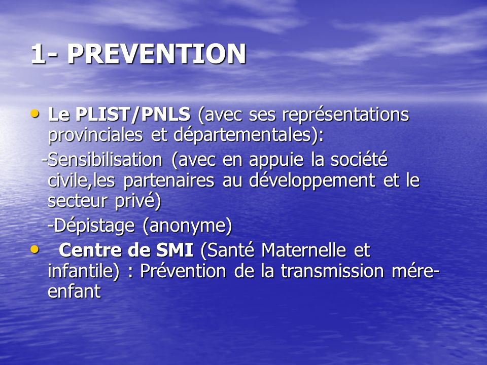 1- PREVENTION 1- PREVENTION Le PLIST/PNLS (avec ses représentations provinciales et départementales): Le PLIST/PNLS (avec ses représentations provinci