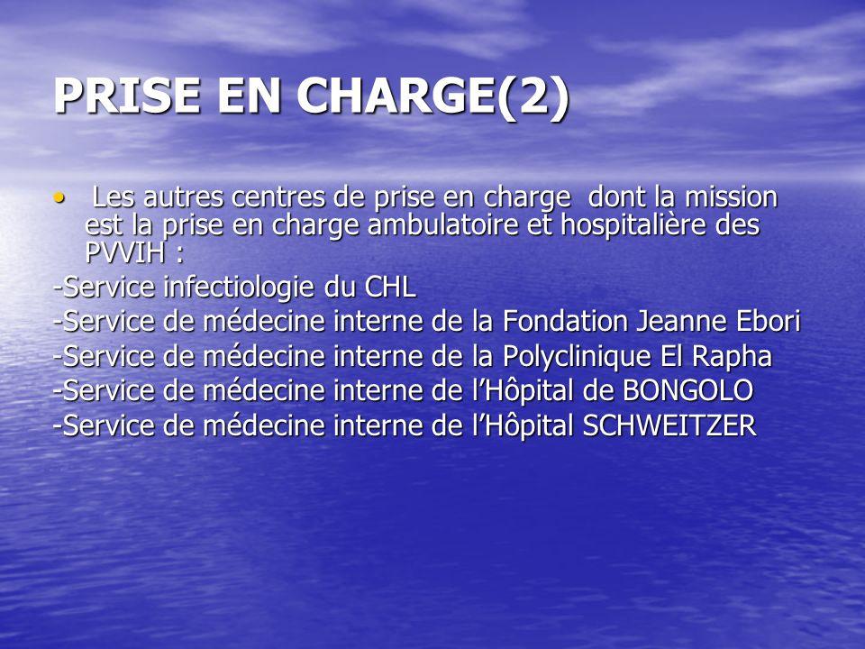 PRISE EN CHARGE(2) Les autres centres de prise en charge dont la mission est la prise en charge ambulatoire et hospitalière des PVVIH : Les autres cen