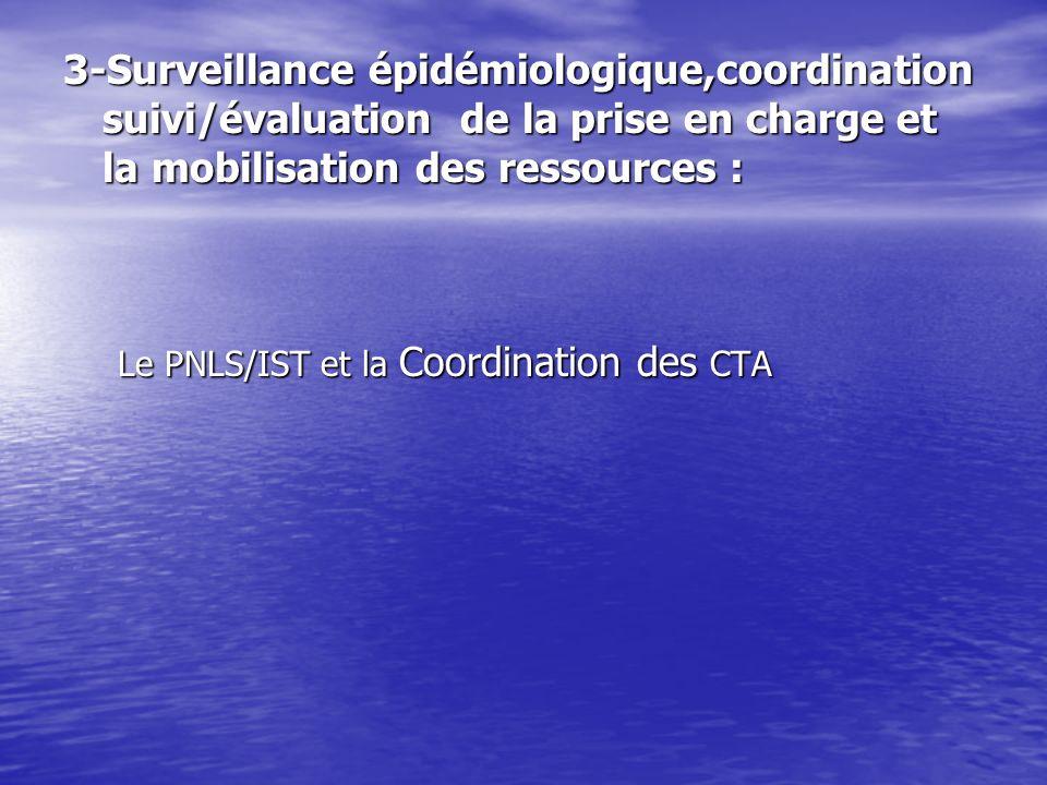 Le PNLS/IST et la Coordination des CTA Le PNLS/IST et la Coordination des CTA 3-Surveillance épidémiologique,coordination suivi/évaluation de la prise