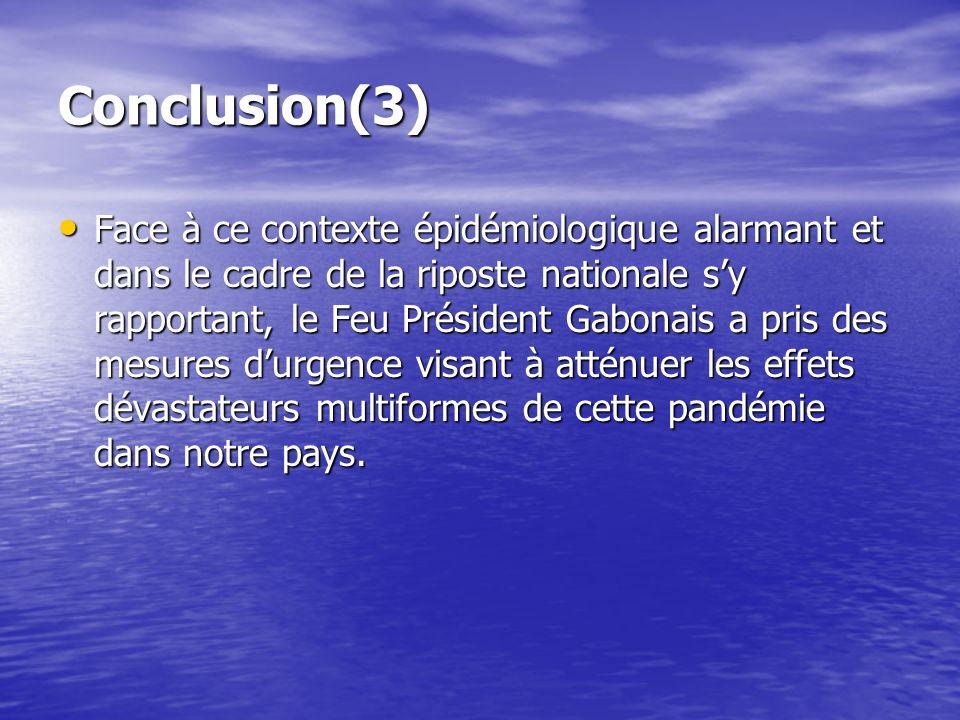 Conclusion(3) Face à ce contexte épidémiologique alarmant et dans le cadre de la riposte nationale sy rapportant, le Feu Président Gabonais a pris des