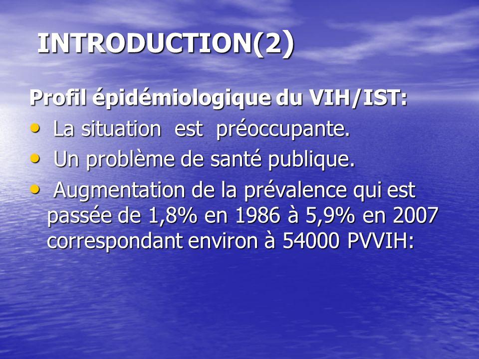 INTRODUCTION(2 ) Profil épidémiologique du VIH/IST: La situation est préoccupante. La situation est préoccupante. Un problème de santé publique. Un pr