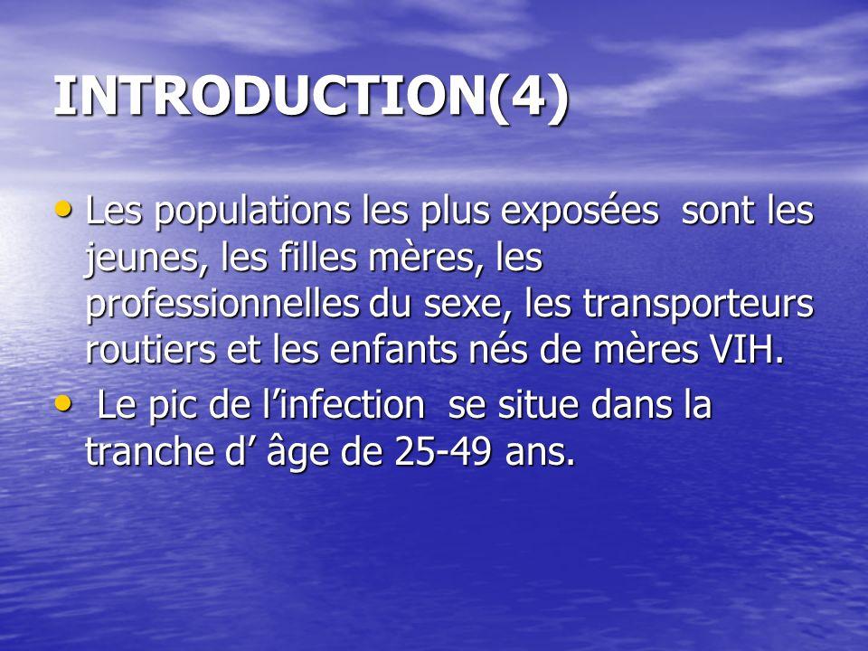INTRODUCTION(4) Les populations les plus exposées sont les jeunes, les filles mères, les professionnelles du sexe, les transporteurs routiers et les e