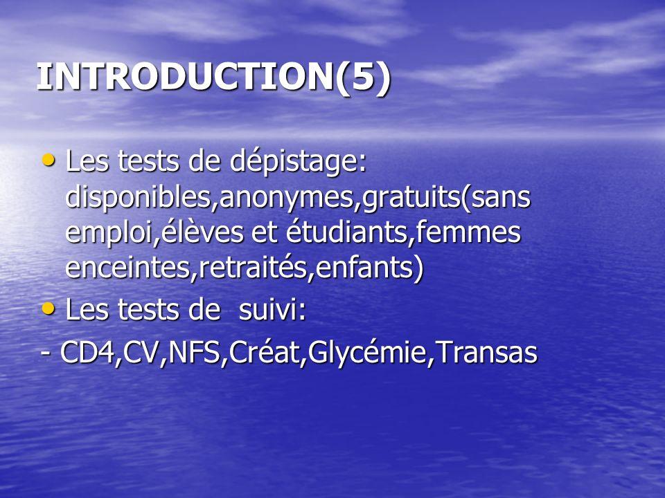 INTRODUCTION(5) Les tests de dépistage: disponibles,anonymes,gratuits(sans emploi,élèves et étudiants,femmes enceintes,retraités,enfants) Les tests de