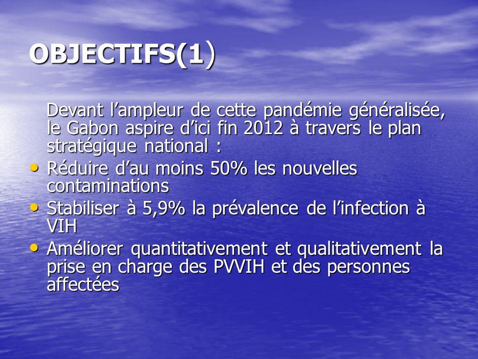 OBJECTIFS(1 ) Devant lampleur de cette pandémie généralisée, le Gabon aspire dici fin 2012 à travers le plan stratégique national : Devant lampleur de