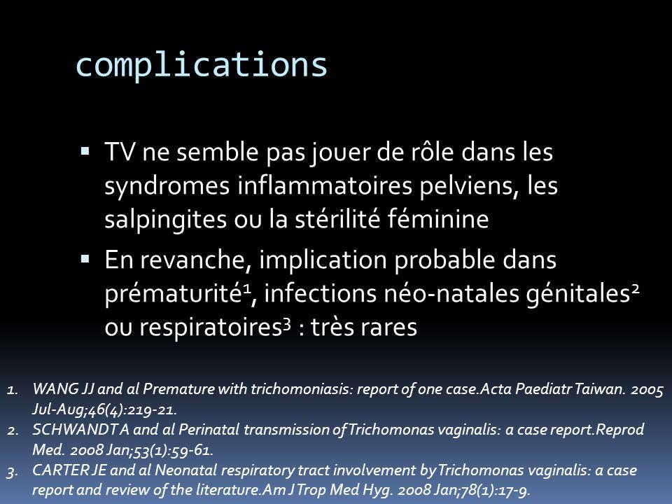 complications TV ne semble pas jouer de rôle dans les syndromes inflammatoires pelviens, les salpingites ou la stérilité féminine En revanche, implica