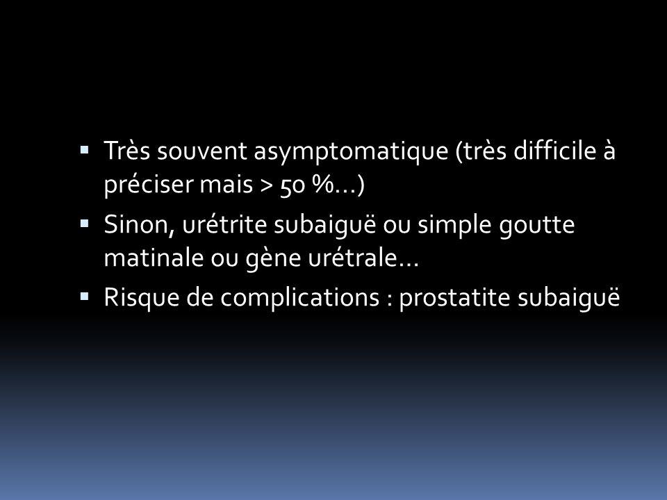 Très souvent asymptomatique (très difficile à préciser mais > 50 %...) Sinon, urétrite subaiguë ou simple goutte matinale ou gène urétrale… Risque de