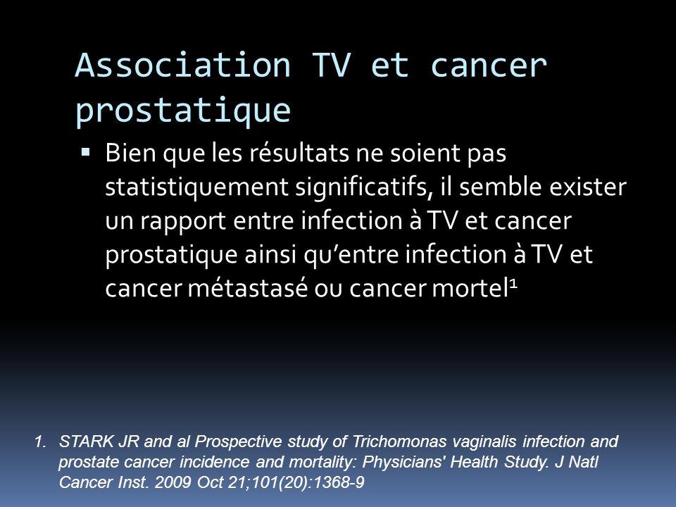 Association TV et cancer prostatique Bien que les résultats ne soient pas statistiquement significatifs, il semble exister un rapport entre infection