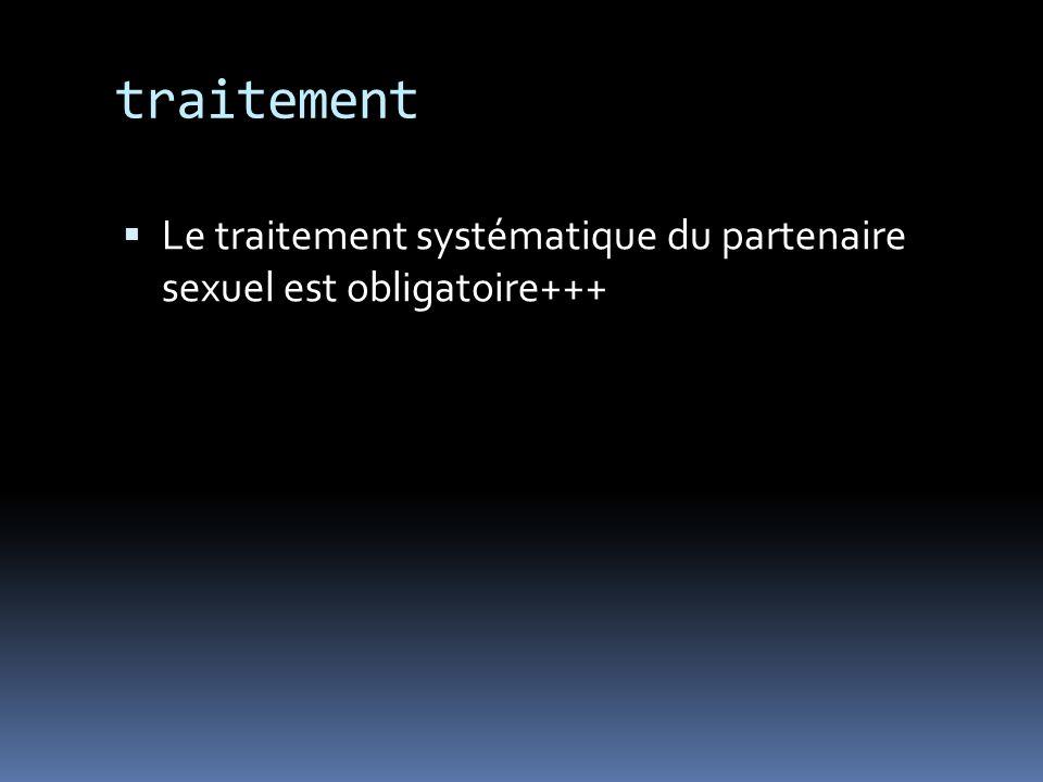 traitement Le traitement systématique du partenaire sexuel est obligatoire+++