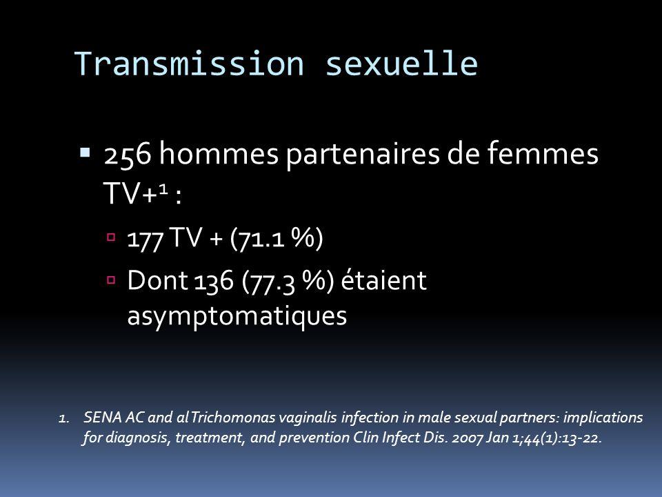 Transmission sexuelle 256 hommes partenaires de femmes TV+ 1 : 177 TV + (71.1 %) Dont 136 (77.3 %) étaient asymptomatiques 1.SENA AC and al Trichomona