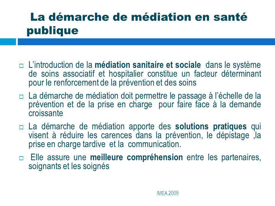 La démarche de médiation en santé publique IMEA 2009 Lintroduction de la médiation sanitaire et sociale dans le système de soins associatif et hospita