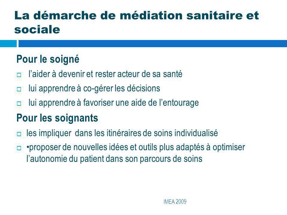 La démarche de médiation sanitaire et sociale IMEA 2009 Pour le soigné laider à devenir et rester acteur de sa santé lui apprendre à co-gérer les déci
