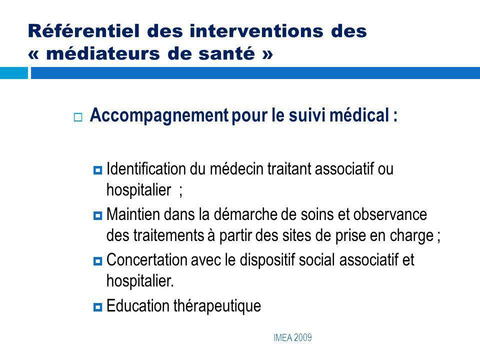 Référentiel des interventions des « médiateurs de santé » IMEA 2009 Accompagnement pour le suivi médical : Identification du médecin traitant associat