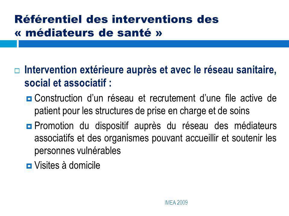 Référentiel des interventions des « médiateurs de santé » IMEA 2009 Intervention extérieure auprès et avec le réseau sanitaire, social et associatif :