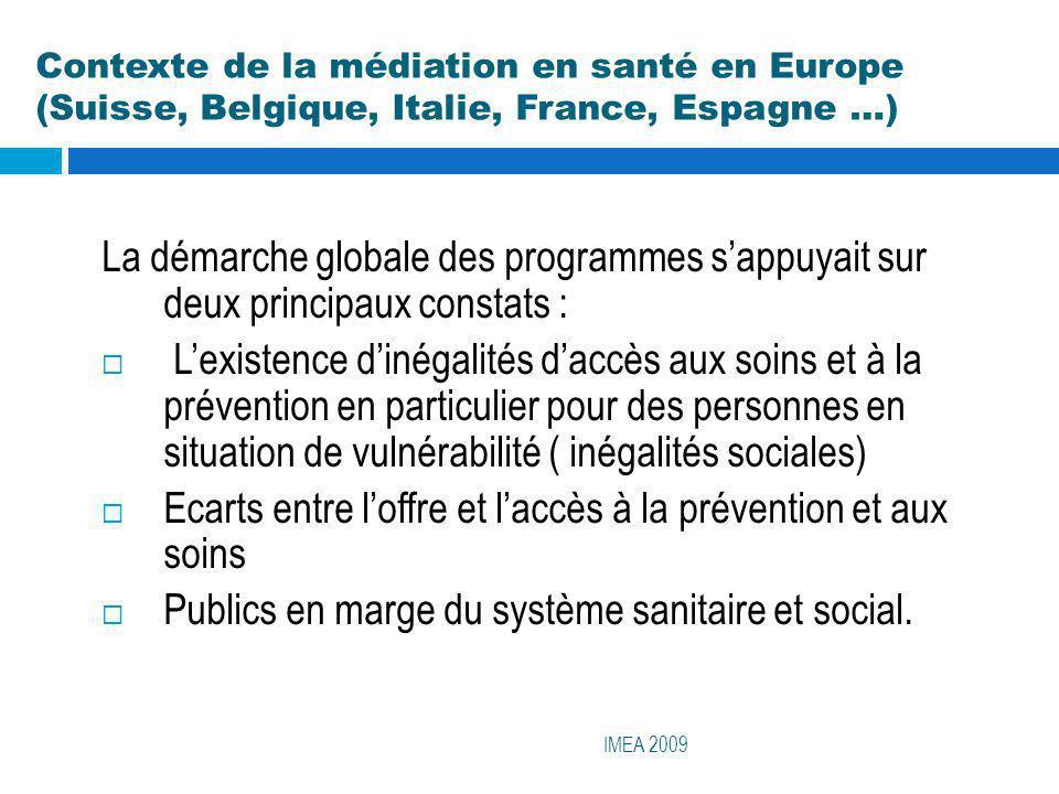 Contexte de la médiation en santé en Europe (Suisse, Belgique, Italie, France, Espagne …) IMEA 2009 Face à cette situation, deux ordres de propositions ont émergé : La première valide la pertinence de la participation des usagers au système sanitaire et social..