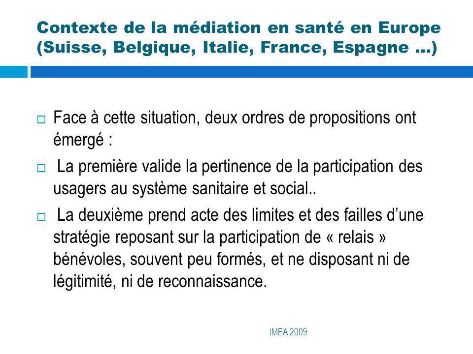 Contexte de la médiation en santé en Europe (Suisse, Belgique, Italie, France, Espagne …) IMEA 2009 Face à cette situation, deux ordres de proposition