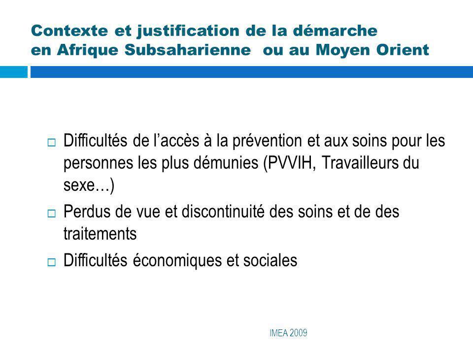 Contexte et justification de la démarche en Afrique Subsaharienne ou au Moyen Orient IMEA 2009 Difficultés de laccès à la prévention et aux soins pour
