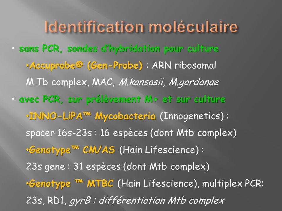 sans PCR, sondes dhybridation pour culture Accuprobe® (Gen-Probe) Accuprobe® (Gen-Probe) : ARN ribosomal M.Tb complex, MAC, M.kansasii, M.gordonae ave