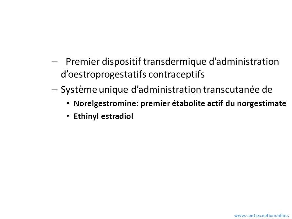 – Premier dispositif transdermique dadministration doestroprogestatifs contraceptifs – Système unique dadministration transcutanée de Norelgestromine: