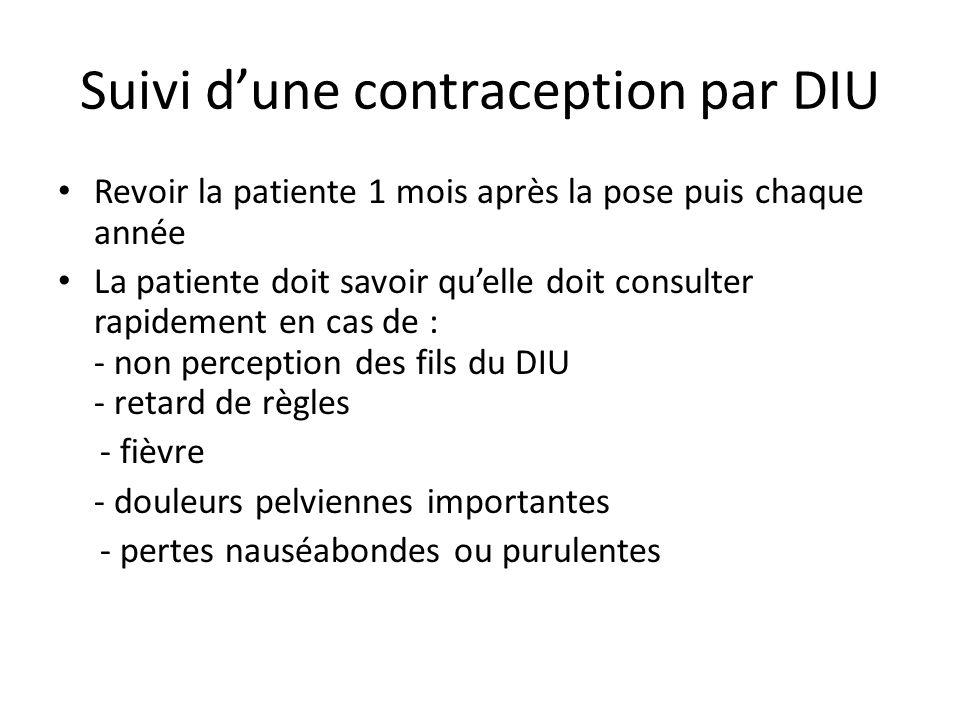 Suivi dune contraception par DIU Revoir la patiente 1 mois après la pose puis chaque année La patiente doit savoir quelle doit consulter rapidement en