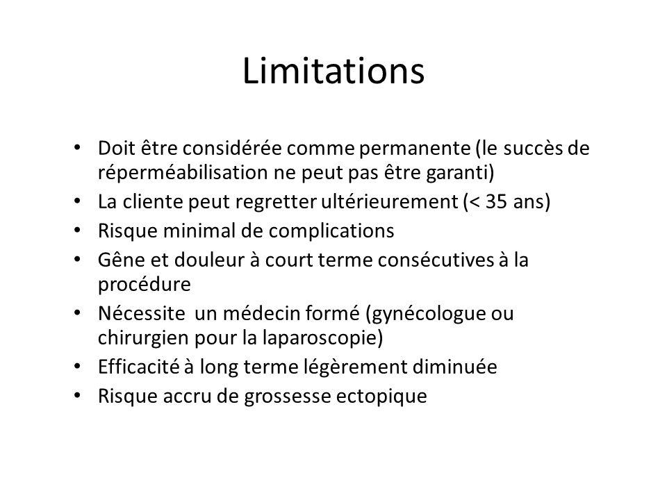 Limitations Doit être considérée comme permanente (le succès de réperméabilisation ne peut pas être garanti) La cliente peut regretter ultérieurement