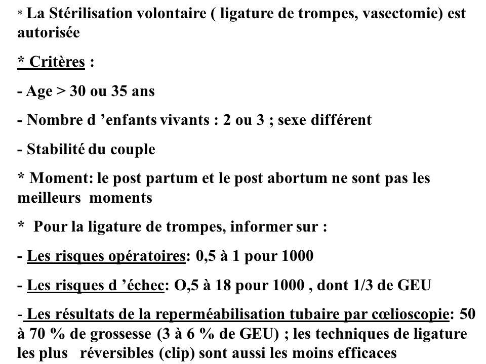 * La Stérilisation volontaire ( ligature de trompes, vasectomie) est autorisée * Critères : - Age > 30 ou 35 ans - Nombre d enfants vivants : 2 ou 3 ;