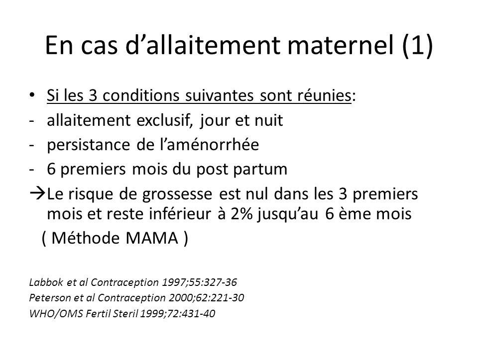 En cas dallaitement maternel (1) Si les 3 conditions suivantes sont réunies: -allaitement exclusif, jour et nuit -persistance de laménorrhée -6 premie
